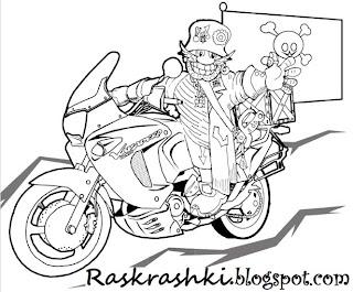 Раскрашка для детей, пират на мотоцикле