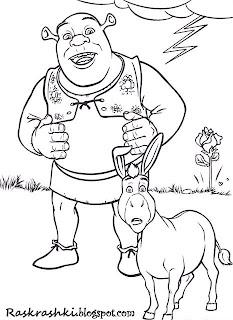 Картинка для раскраски Шрек и Осел
