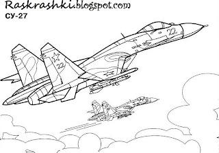 Расраска для детей самолета СУ-27