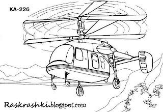 разукрашка вертолета для детей