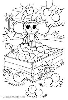 картинка для раскраски Чебурашки