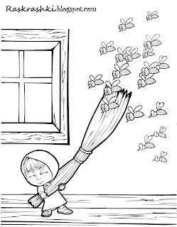 Раскраска для детей Маша и пчелы