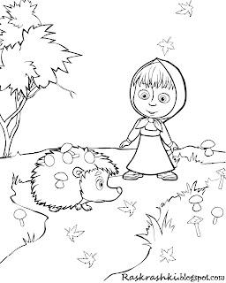 Детская раскраска из мультика Маша и Медведь