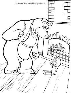 Раскраска для детей Маша и Медведь