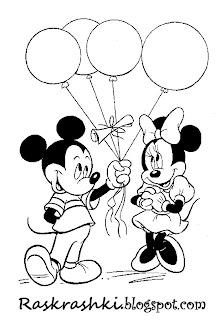 Раскрашки для детей Микки и Минни Маус