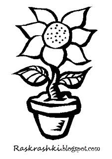 Раскрашка для детей цветок в горшке