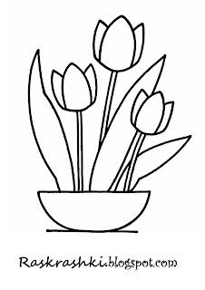 раскрашки тюльпаны для малышей