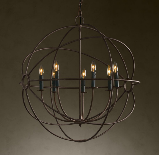 RESTORATION HARDWARE FOUCAULT'S IRON ORB CHANDELIER