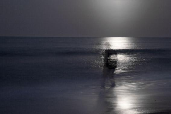 fotografia nocturna en la playa de Valencia