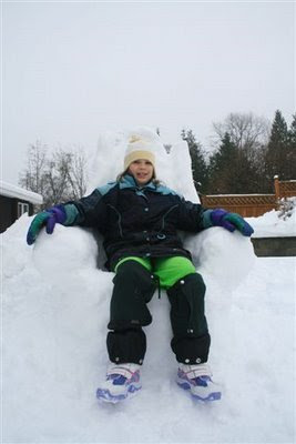Sitting on snow throne