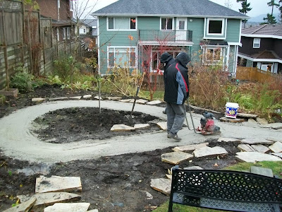 Base for the flagstone path