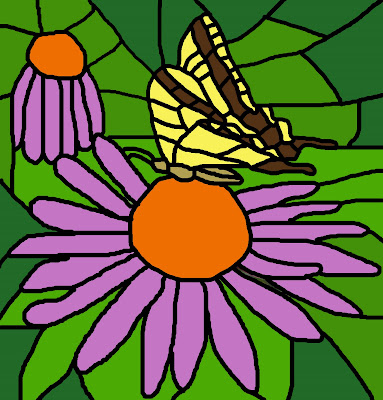 Stained glass swallowtail butterfly on purple coneflower