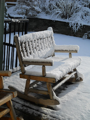 Wooden bench in snow
