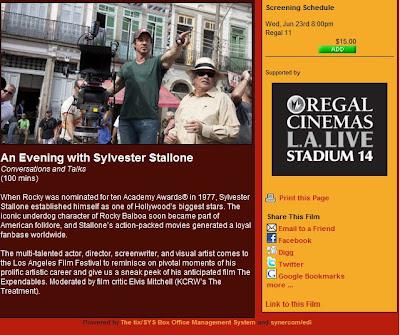 Noite com Sylvester Stallone no Festival de Filmes de LA 2010