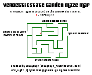 Vercetti Estate Garden Maze Map