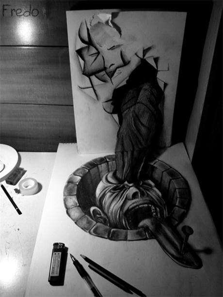 edbda amazing drawings in 3d 06 Lukisan Semacam Real