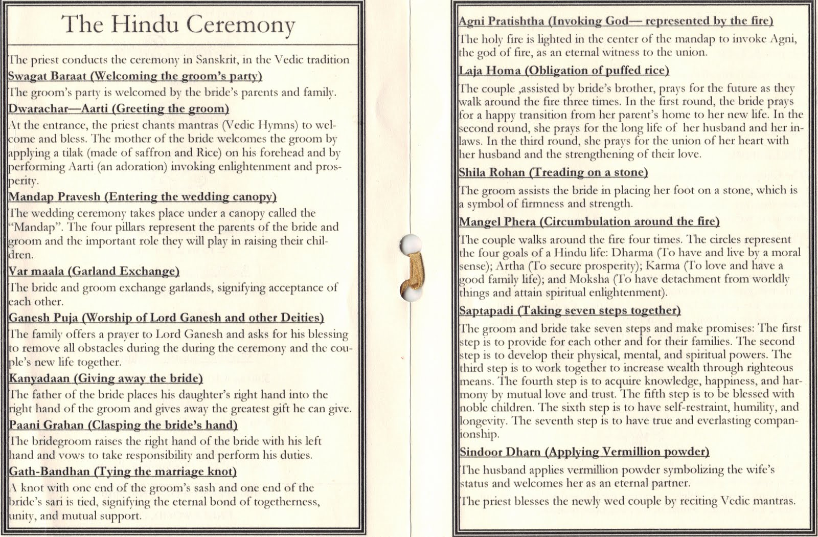 Here Is The Program That Detailed Out Hindu And Jewish Traditions In Wedding Ceremonies It Was Pretty Interesting Different Symbolism From A