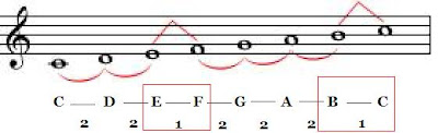 B to C and E to F semitones