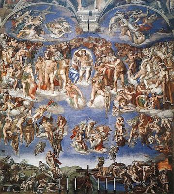 O Juízo Final ( 1536-1541 ), de Michelangelo. Capela Sistina, Vaticano.