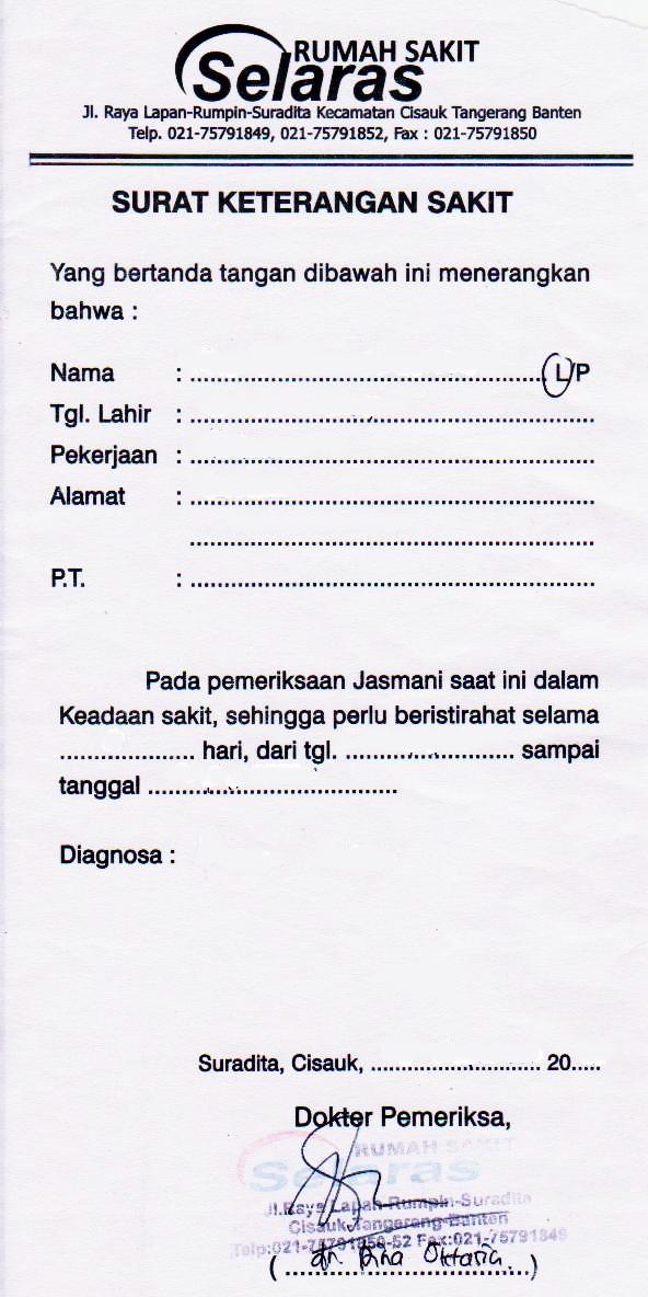 contoh surat sakit dokter