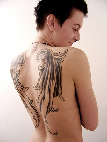 full back tattoo wings. angel wings back tattoo. wing