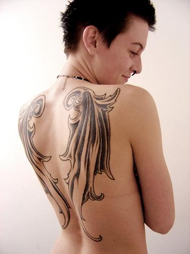 full back tattoo wings. angel wings back tattoo. wing