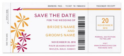 Boarding Pass Save the Date Invitations invitation