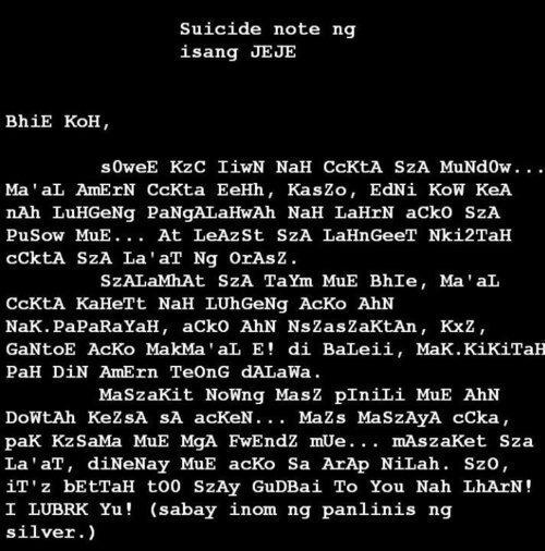 suicide note. JEJEMONS suicide note