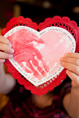 Valentines hand print card