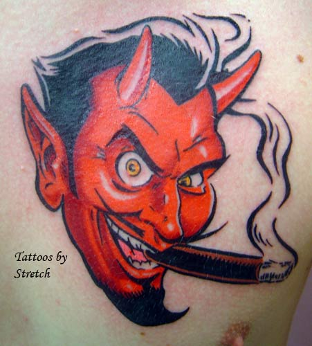 Devil Tattoos Inhaling Cigarettes