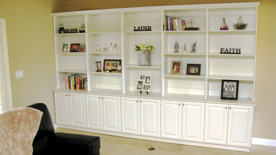 Domestinista living room built ins on a budget Built in shelves living room