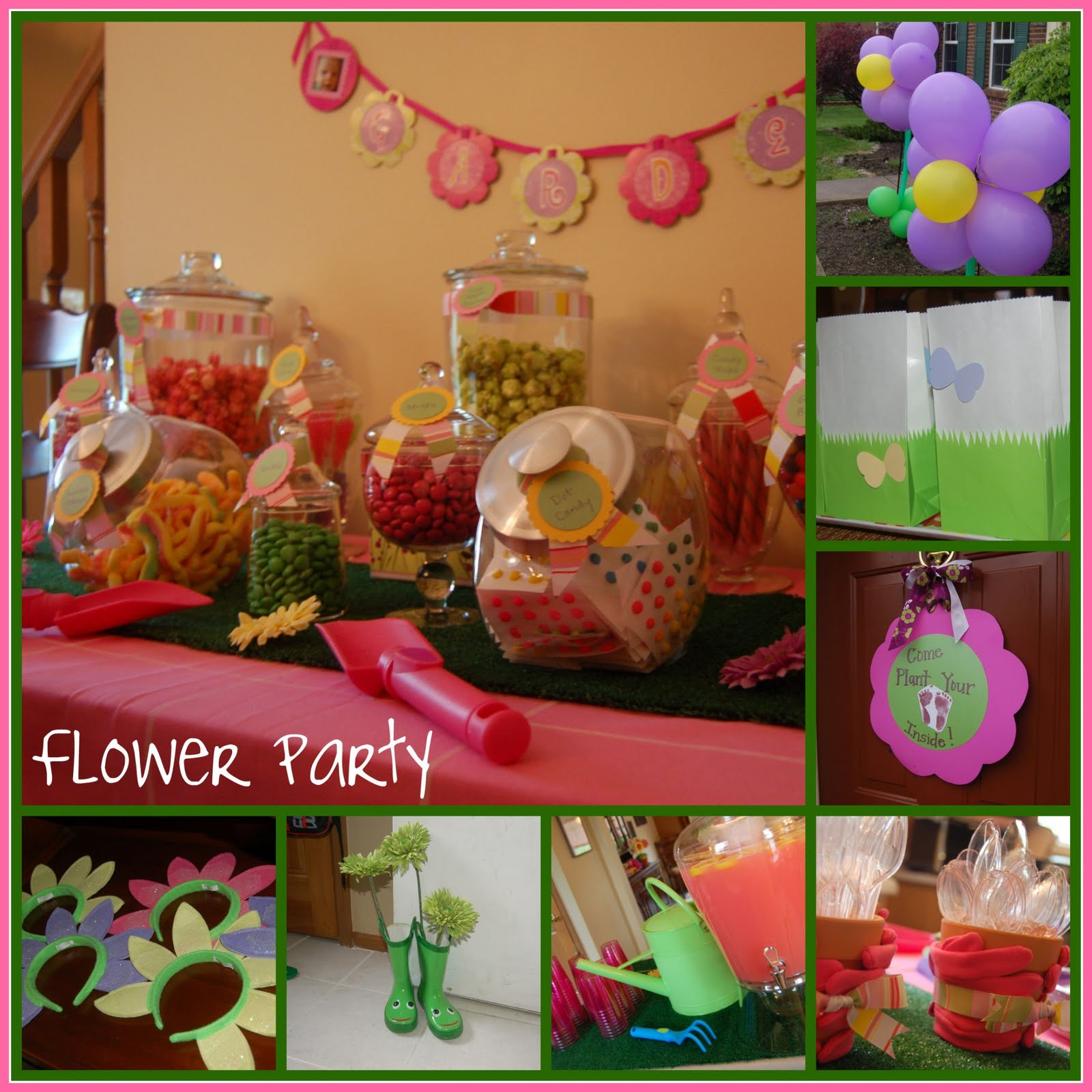 Parties decor more flower birthday party for Indoor birthday decoration ideas