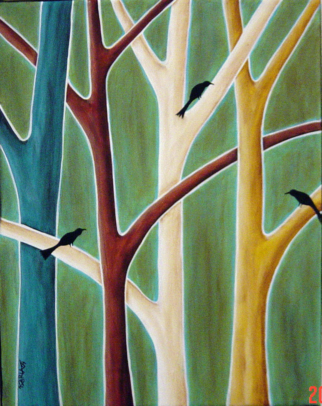 karla gerard art: Trees and Birds Painting by Karla G