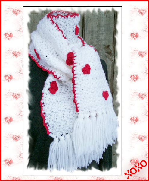 Valentine crochet heart scarf