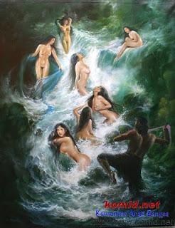 lukisan jaka tarub dan 7 bidadari