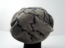 olive beret, embroidered and beaded