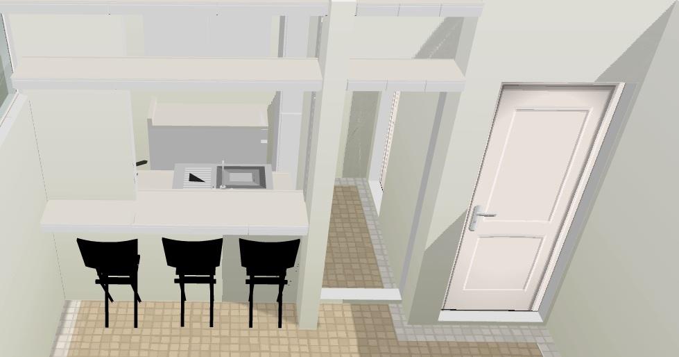 cozinha integrada à sala em apartamento antigo no tradicional Bairro