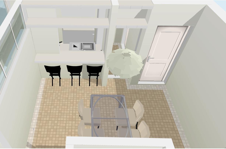 arquitetura do imóvel: Estar jantar e cozinha integrada à sala em  #7C6A4F 1227 809