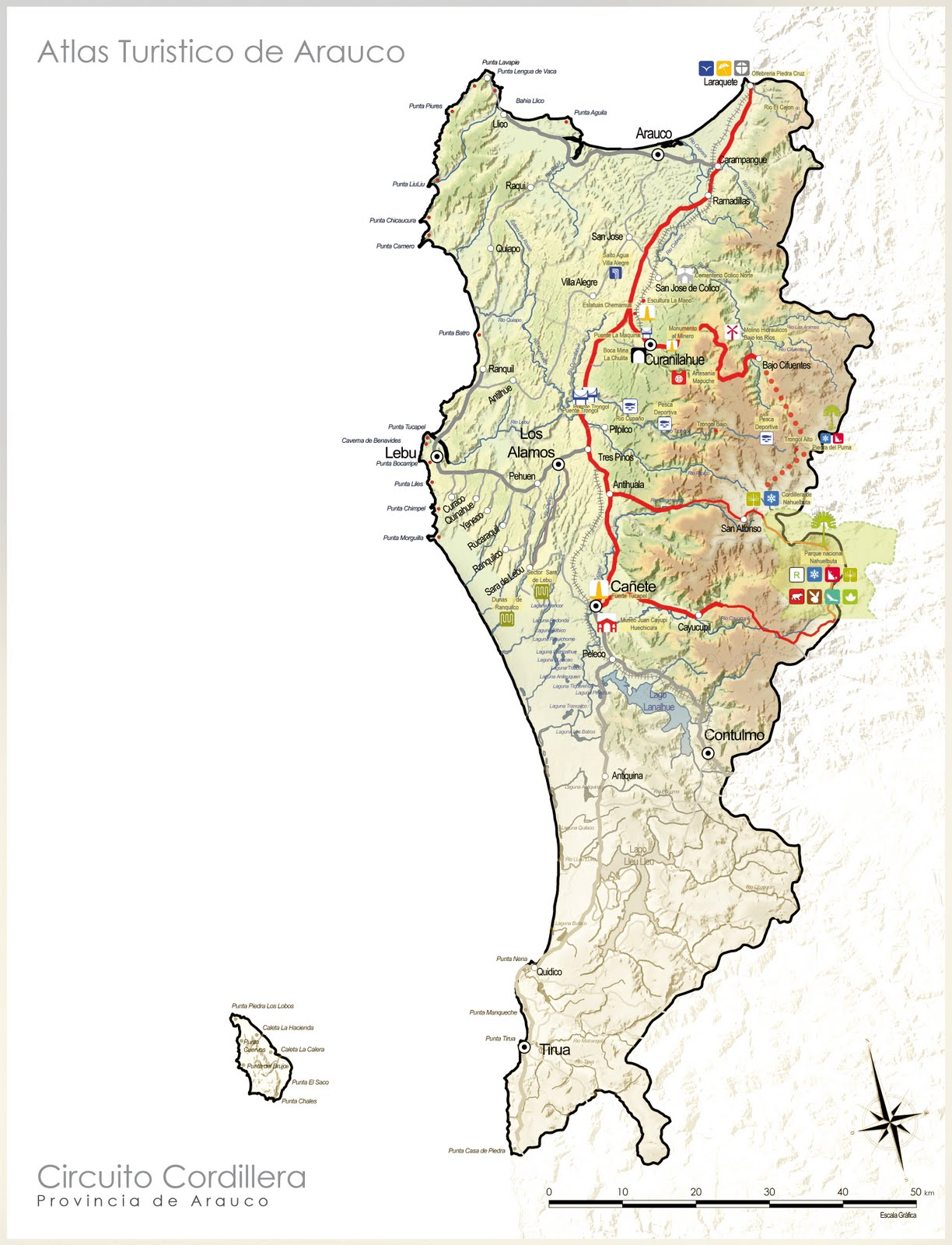 Circuito Mayor : Mapas turisticos arauco sig universidad del bio bio: circuitos