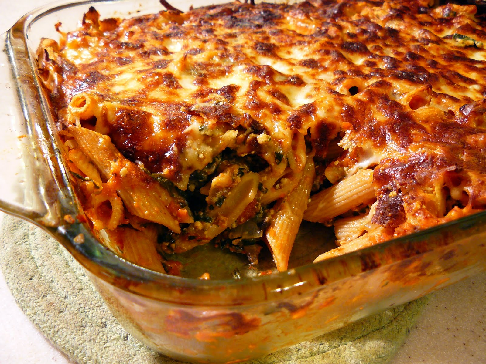 Level 2 Mommy: Spinach Mushroom Baked Ziti