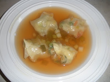Chinese Broccoli Wontons in Ginger Soy Broth