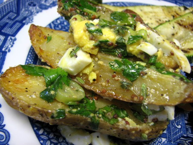 roasted fingerling potato salad roasted potatoes are topped with an ...
