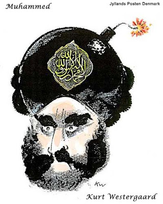 Muhammed with a bomb for a brain - cartoon by Kurt Westergaard