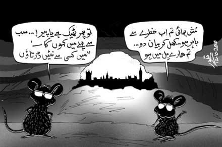 Cartoon on Bush and Mush