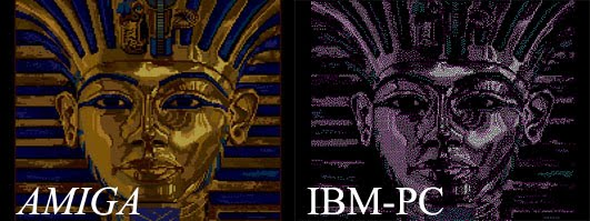 confronto immagine Amiga e PC IBM 1985