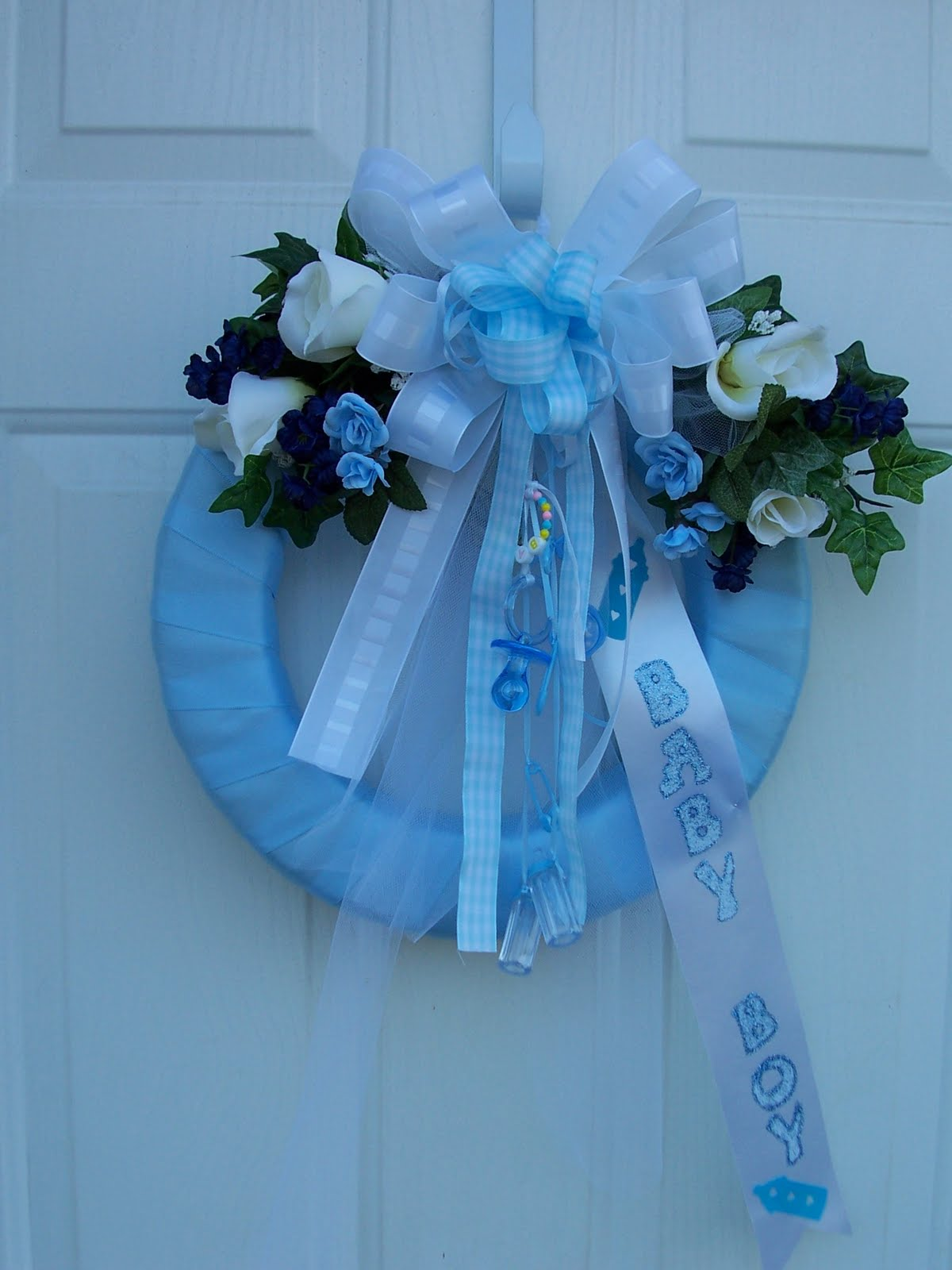 Custom created baby wreaths for hospital doors and more for Baby boy hospital door decoration
