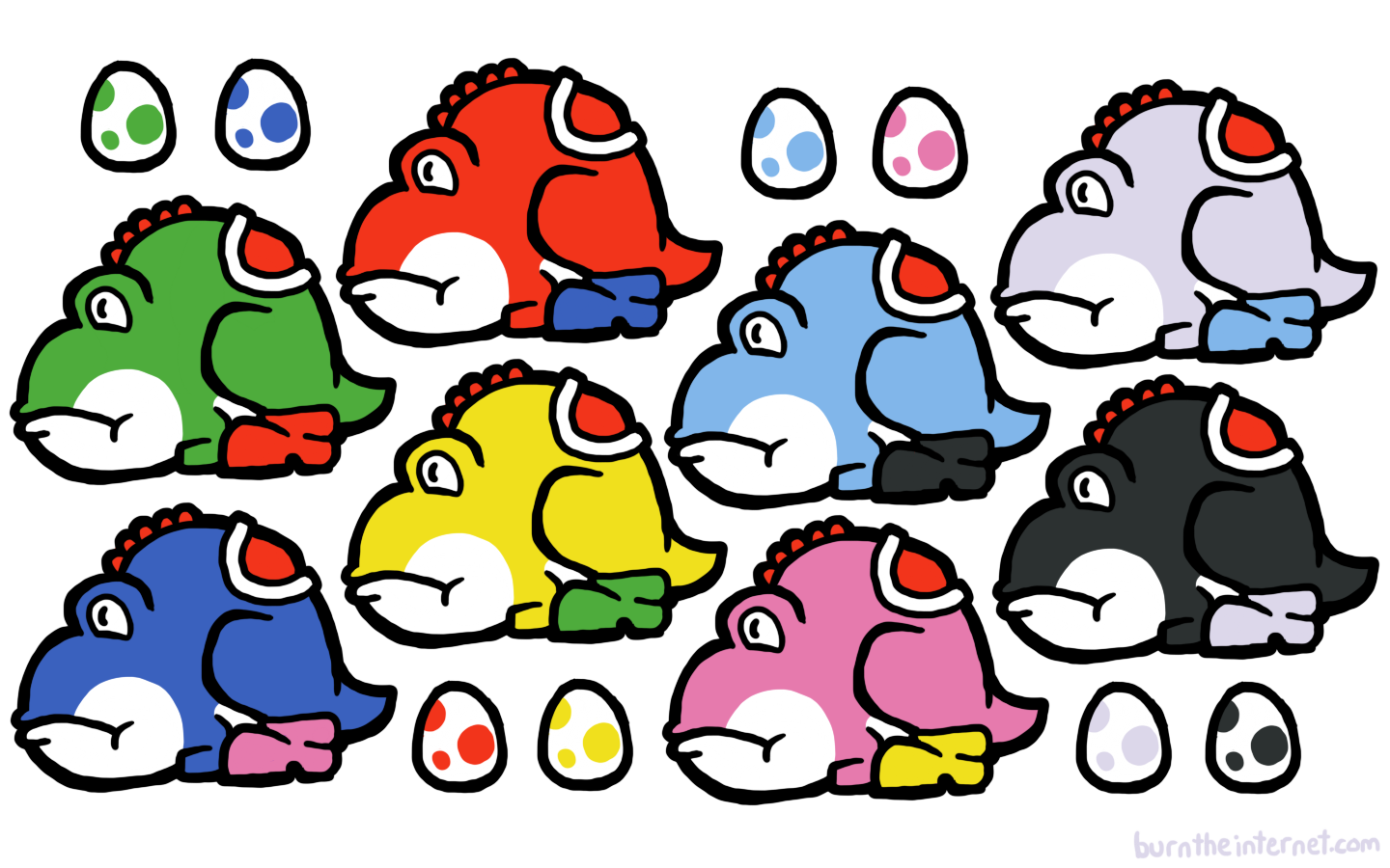 This is a wallpaper-sized collection of all the different Yoshis (all the ones from Yoshi's Story, at least), based on that drawing I did recently where ...