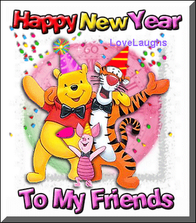 ... Dear Ones, Buddies And Loved Ones Through Cartoons Of Their Choice    Pooh With Piglet, Tigger And Eeyore. Winnie The Pooh New Year Greetings