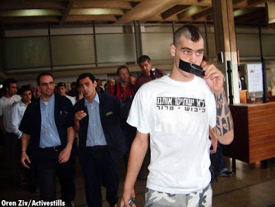 Anarchist Against The Wall activist Jonathan Pollak in court in 2004 at the opening of the trial