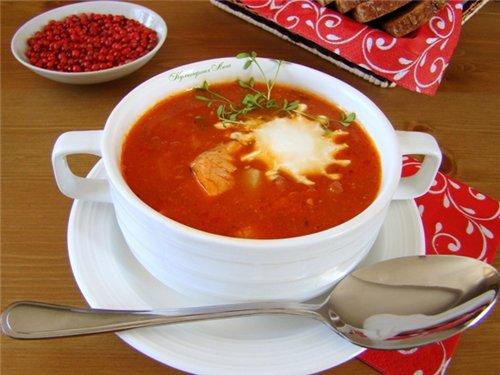 Вкусный суп харчо с гранатовым соком